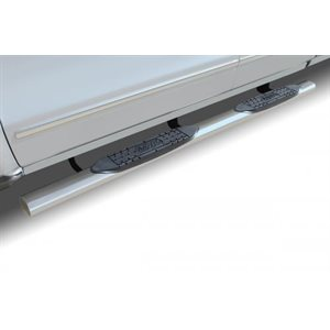 """4"""" OVAL CHEVY / GMC DOUBLE CAB 1500 (07-18) 2500 / 3500 (07-19)STAINLESS"""